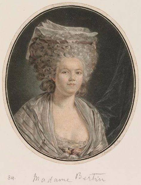 """An <a href=""""http://collection.waddesdon.org.uk/search.do?view=detail&page=1&id=42670&db=object"""">engraving</a> of Rose Bertin by Jean-François Janinet after her portrait, which was painted around 1780 by celebrated artist Louis Trinquesse, who also painted the Queen."""