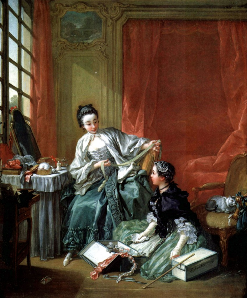 """François Boucher painted this scene in 1746. Entitled """"La marchande de modes,"""" it depicts a milliner and client. Image courtesy the National Museum of Scotland."""
