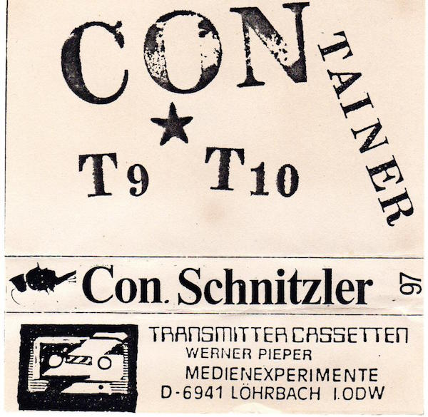"Conrad Schnitzler's ""Container"" series is made up of six 90-minute cassettes, each side featuring an unreleased 12-inch album recording Schitzler made in the 1970s or '80s. The tracks are labeled, ""T1,"" ""T2,"" etc. (Via the Demonoid forum)"