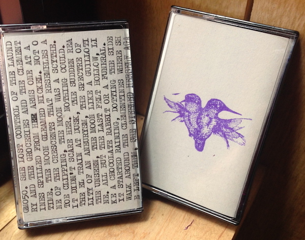 "GODMODE's tape release of ""Pith,"" the debut album by Brooklyn band Courtship Ritual, is hand-dubbed with typed and hand-stamped art. (Via EnterGODMODE.com)"