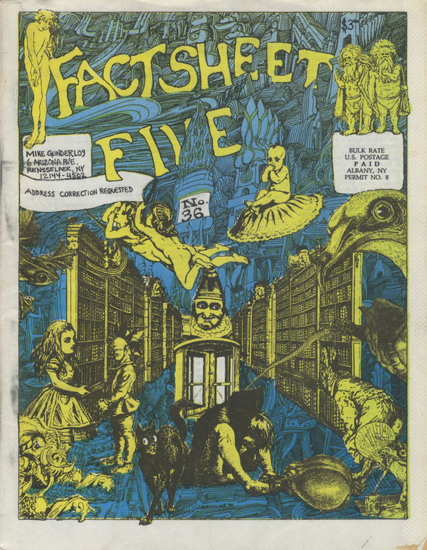"The cover of the 36th issue of ""Factsheet Five,"" a zine by Mike Gunderloy that provided cassette reviews and networking addresses."