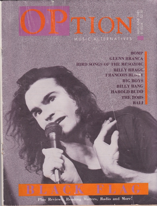 "After ""OP"" magazine folded in 1984, it was succeeded by Scott Becker and Richie Unterberger's ""OPtion"" (above) and David Ciaffardini's ""Sound Choice."" (Via the Living Archive of Underground Music)"