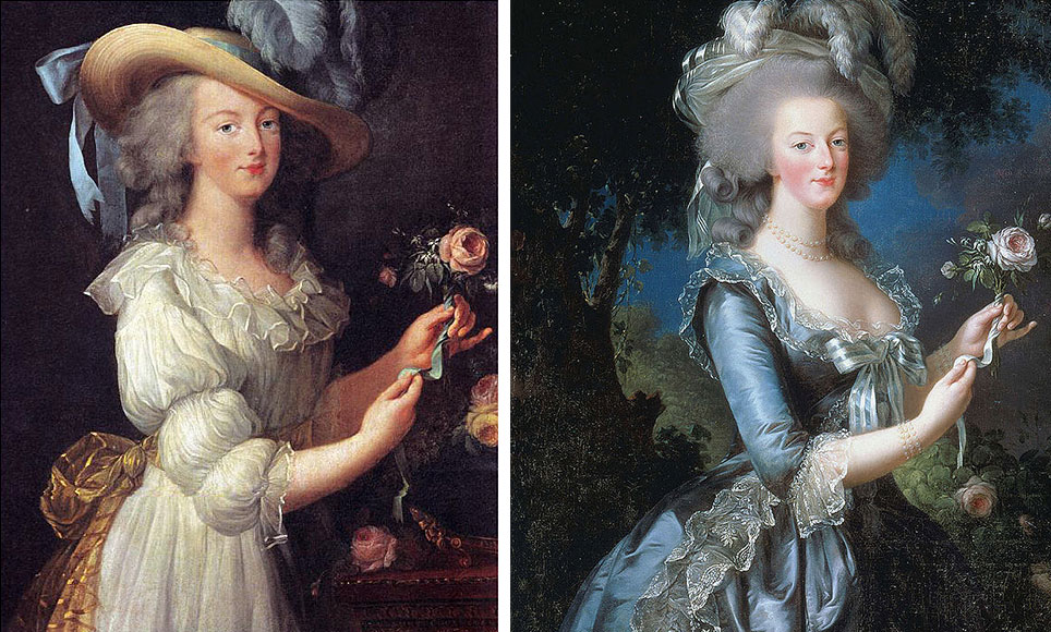 """In 1783, Louise Élisabeth Vigée Le Brun painted Marie Antoinette in a white chemise gown, at left, but public outrage over the image of the Queen in her """"underwear"""" inspired Le Brun to redo the portrait in a more formal dress, seen at right."""