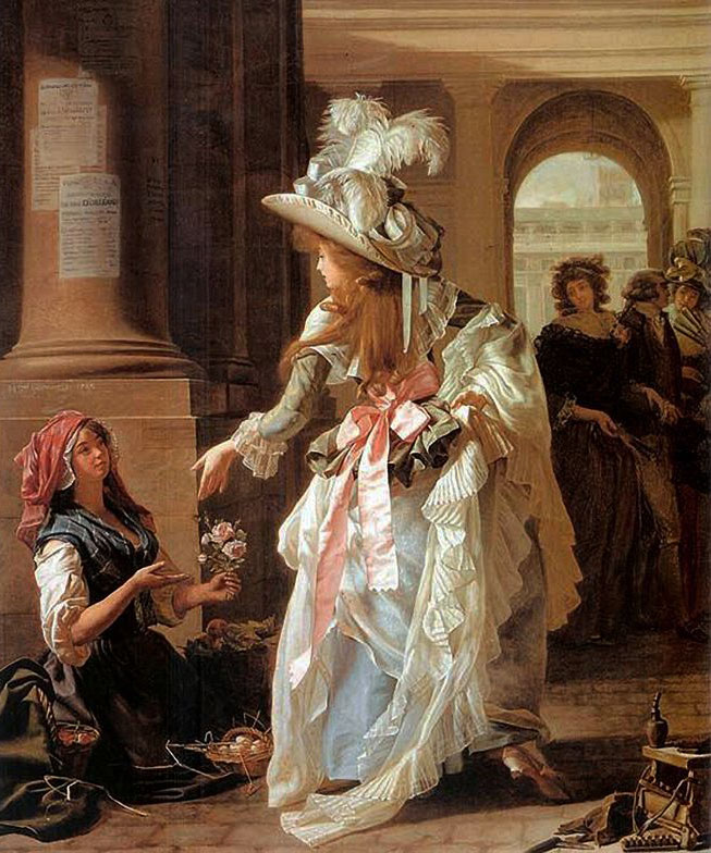 """Michel Garnier's 1787 painting, """"A Fashionably Dressed Young Woman in the Arcade of the Palais Royal,"""" captures the catwalk quality of Paris' popular public gathering places."""