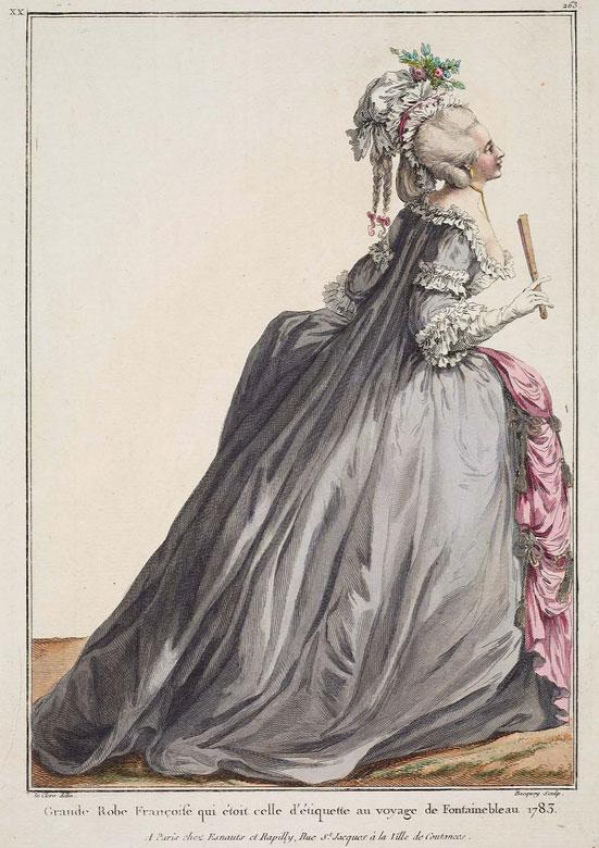 "A <a href=""http://www.mfa.org/collections/object/gallerie-des-modes-et-costumes-fran%C3%A7ais-41e-cahier-bis-des-costumes-fran%C3%A7ais-36e-suittes-dhabillemens-%C3%A0-la-mode-en-1784-pour-servir-de-suppl%C3%A9ment-au-6e-cahier-des-coeffures-xx263-grande-robe-fran%C3%A7oise-352865"">dress</a> designed to be worn at the royal chateau of Fontainebleau in 1783. Courtesy the Museum of Fine Arts, Boston."
