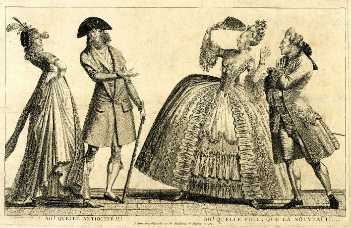 """Top: An illustration from 1778 of the """"Coiffure de l'indépendance,"""" a hairstyle referencing the American Revolution. Above: A 1797 etching shows two couples mocking each other's fashion sense, with the """"nouvelle riche"""" on the left and the """"ancien régime,"""" or old guard, on the right."""