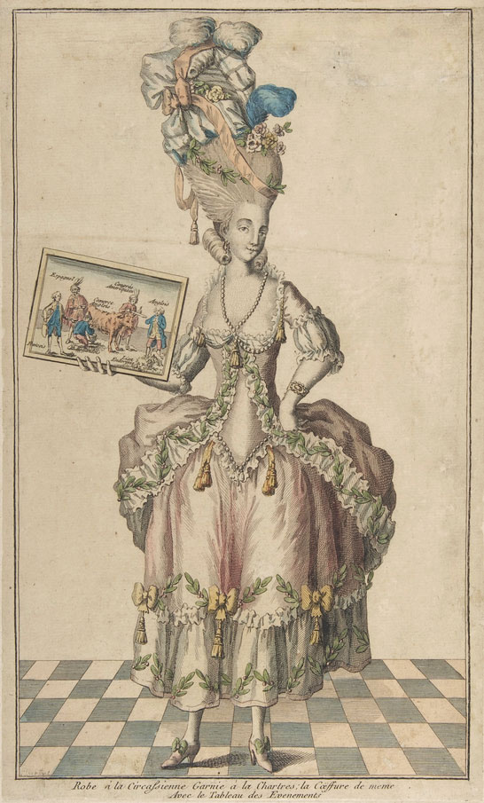 """A <a href=""""http://www.metmuseum.org/collection/the-collection-online/search/394523?rpp=20&pg=1&ao=on&ft=tableau+des+evenements&pos=5"""">fashion plate</a> depicting a dress and headpiece in the style """"à la Chartres,"""" including an over-the-top pouf, circa 1770s. Image courtesy the Metropolitan Museum of Art."""