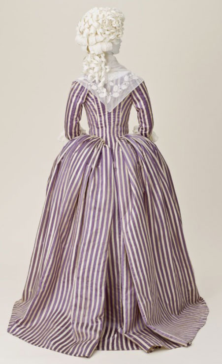 This robe à l'Anglaise, or English dress, made from silk, circa 1785-1790, epitomizes the trend for simplified looks. Image courtesy LACMA.