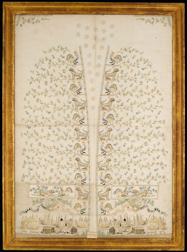 This embroidered panel for a men's waistcoat, commemorates the Eden Treaty of 1786, an economic agreement between Britain and France. Image courtesy the National Maritime Museum, Greenwich, London.