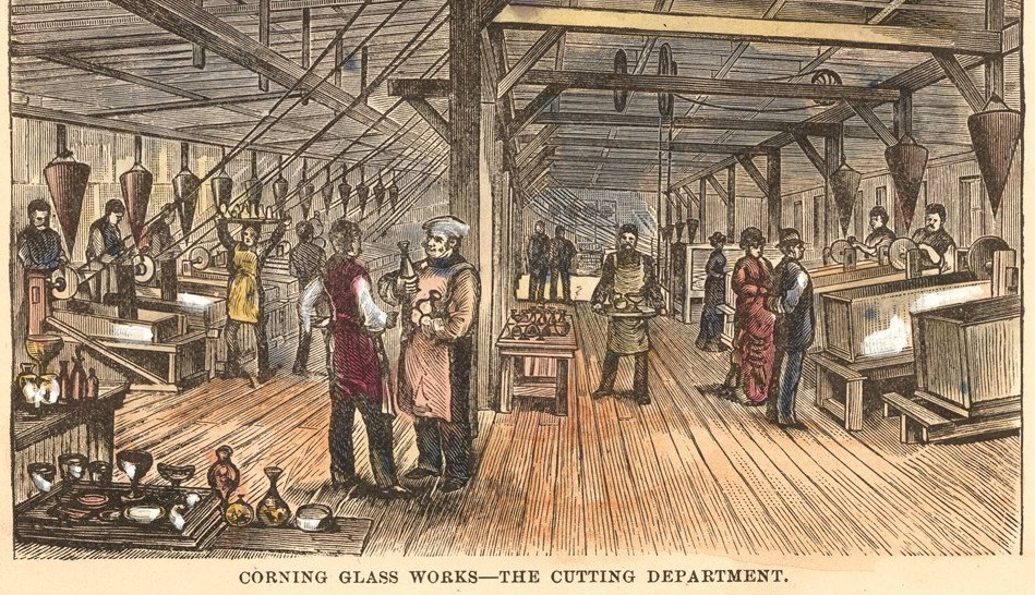 An engraving from the 1870s showing the Corning Glass Works cutting department. Courtesy the Corning Museum of Glass.