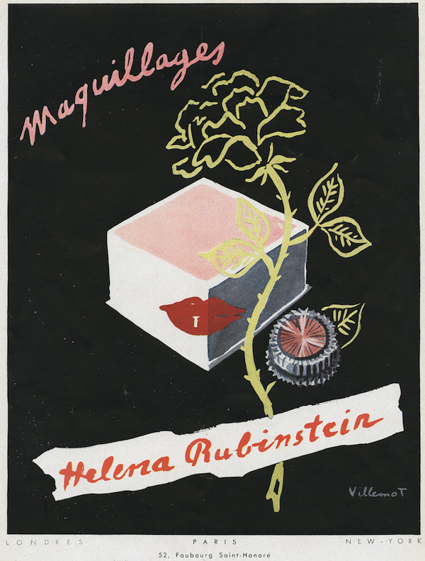 A 1949 French advertisement for complexion powder and rouge drawn by Bernard Villemot. (Courtesy of the Jewish Museum, © 2014 Artist Rights Society (ARS), New York / ADAGP, Paris)