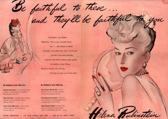 A 1943 Helena Rubinstein ad implies that a woman who forgoes her beauty routine may face infidelity. (Via Vintage Ad Browser)