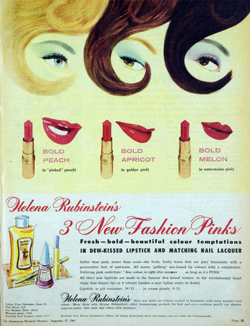 "A 1961 ad for Helena Rubinstein lipstick from ""Australian Women's Weekly."" (Via Vivat Vintage on Tumblr)"