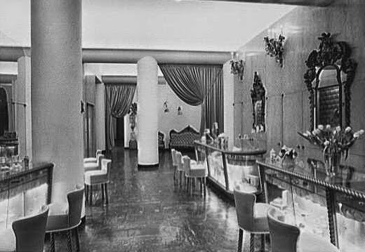 "The interior of Helena Rubinstein's beauty salon at 715 Fifth Avenue, New York, in the early 1940s. (Via <a href=""http://americanpast.blogspot.com/2014/07/the-beauty-of-miniature-helena.html"">American Past</a>)"