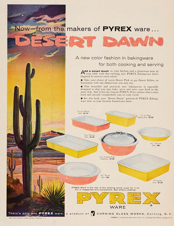 A advertisement for the Pyrex Desert Dawn color scheme from 1955. Courtesy the Corning Museum of Glass.
