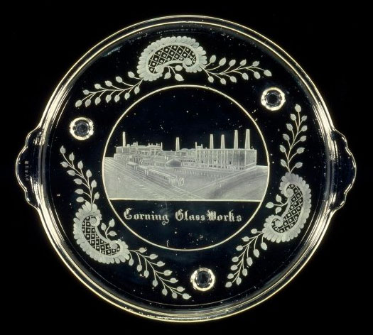 An engraved Pyrex tray featuring the Corning Glass Works factory, circa 1920s. Courtesy the Corning Museum of Glass.