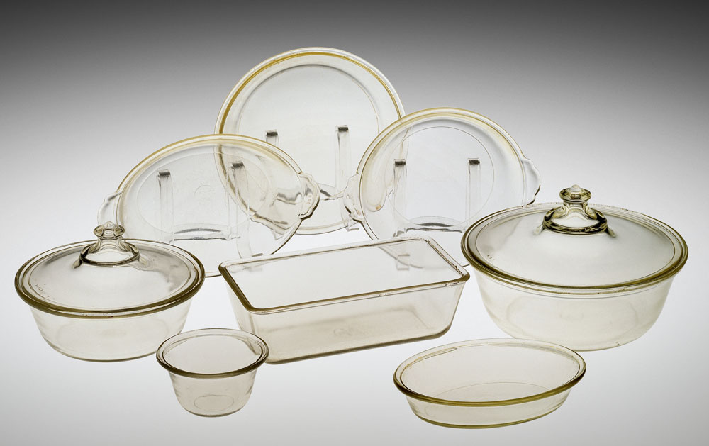 Eight dishes from the first set of Pyrex, circa 1915. Courtesy the Corning Museum of Glass.