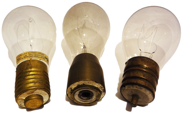 In the 1890s, the three most prominent bulb bases were made by, from left, Edison, Thomson-Houston, and Westinghouse. Image courtesy Alan Makkos.