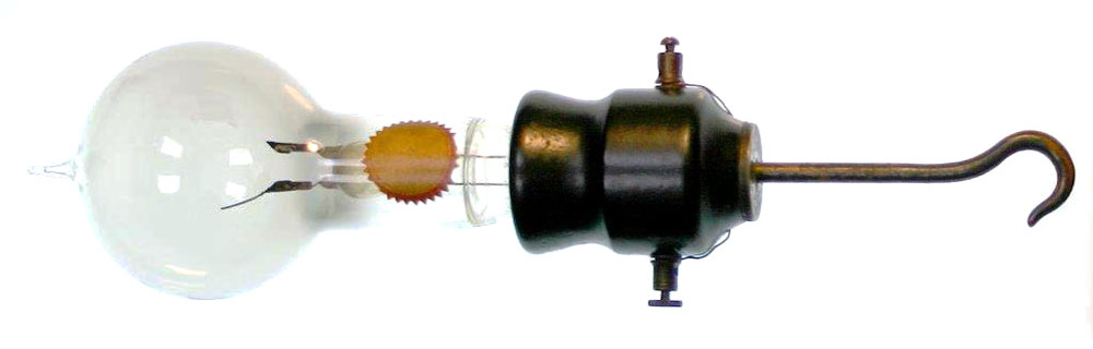 One of the two surviving bulbs from Edison's 1879 demonstration, with a built-in hook for display. Courtesy the Spark Museum of Electrical Invention.