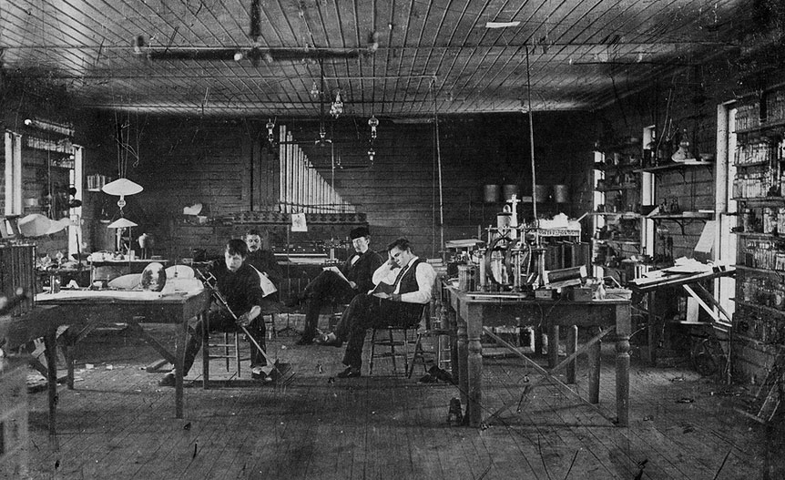 "Edison's assistants in his Menlo Park, New Jersey, lab circa 1880. Via the <a href=""http://www.misci.org/"">Museum of Innovation and Science</a> in Schenectady, New York."