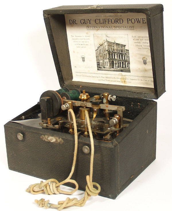 In 1905, Dr. Guy Clifford Powell, of Peoria, Illinois invented and marketed a device he called the Electro-Vibratory Cure for Deafness. (Via JaIVirdi.com)