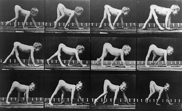 """In 1887's """"Animal Locomotion: An Electro-Photographic Investigation of Consecutive Phases of Animal Movements,"""" photographer Eadweard Muybridge shows people with disabilities, such as this crawling child, in motion. (Via Nineteenth-Century Disability, courtesy of the Wellcome Library, London)"""