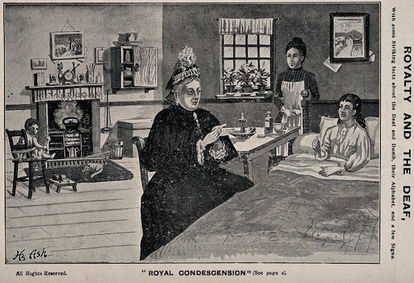 A postcard print of William Agnew's popular 1889 painting shows Queen Victoria using sign language to communicate with a deaf woman. The queen sided with the manualists even after sign language was banned from schools. (Via Nineteenth-Century Disability, courtesy of Wellcome Images)