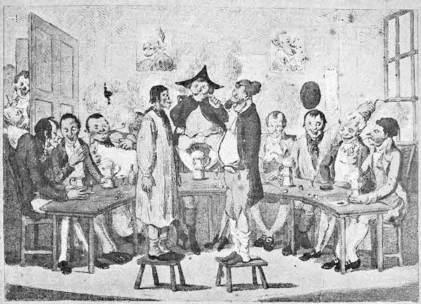 """From an advertisement for an Ugly Face Club anniversary celebration (1806) reprinted with the frontispiece in Edward Howell's edition of """"Ye Ugly Face Clubb, Leverpoole, 1743-1753"""" (Liverpool, 1912). (Via Nineteenth-Century Disability, courtesy of Gretchen E. Henderson)"""