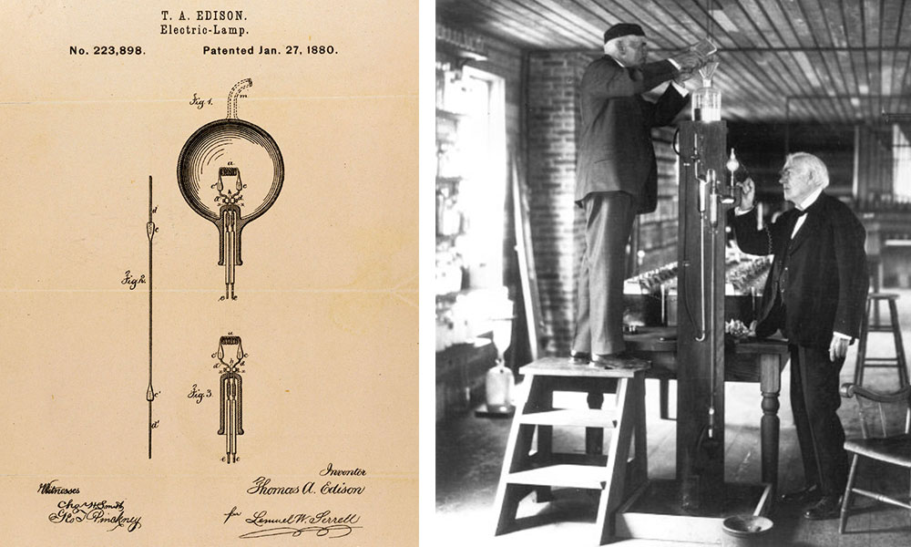 Left, an 1880 patent for Edison's incandescent bulb. Right, Thomas Edison (far right) and his associate, Francis Jehl, demonstrate the use of a mercury vacuum pump in 1929, the 50th anniversary of Edison's famous light-bulb reveal.