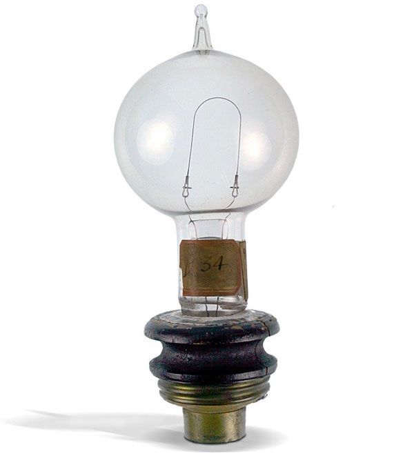 Edison's original screw-base prototype using a kerosene-can lid from 1880. Courtesy the Spark Museum of Electrical Invention.