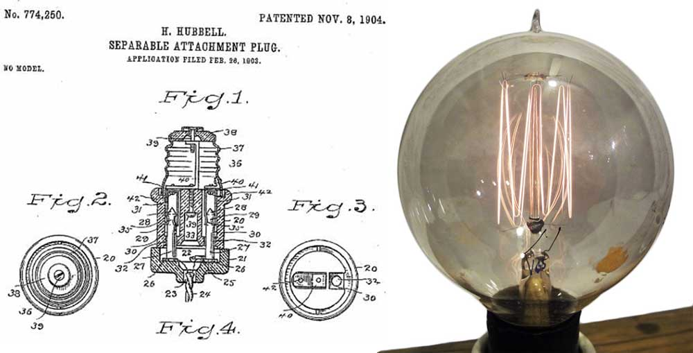 "Left, Hubbell's 1904 patent for an Edison-base adaptor fitting a two-prong plug. Right, an Edison bulb with a tungsten ""squirrel cage"" filament, circa 1910. Courtesy Alan Makkos."