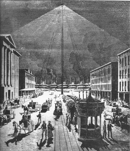 An illustration of arc lighting on the New Orleans waterfront in the late 19th century.