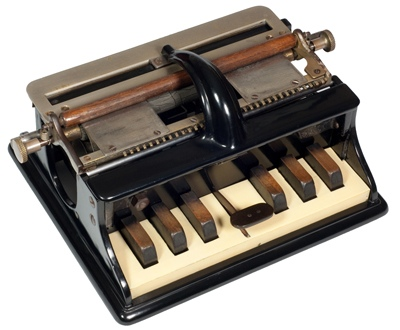 The Hall Braille-writer was the first successful and widely used mechanical Braille-writer. (Via Antique Typewriters: The Martin Howard Collection)