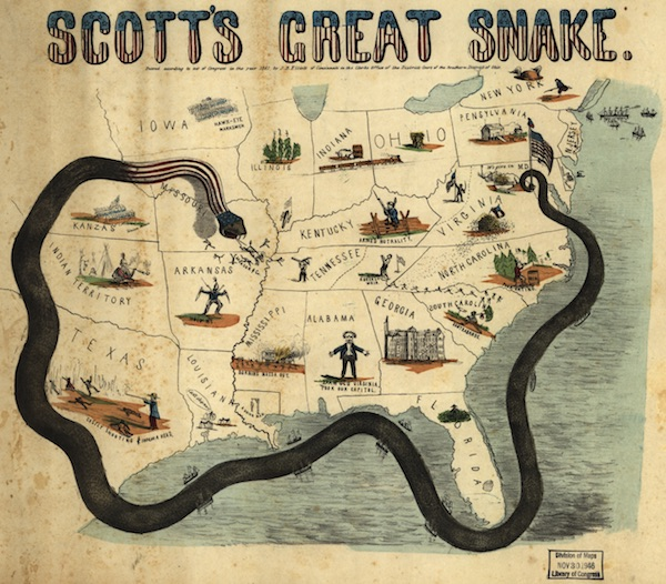 "An 1861 cartoon map illustrates Union General Winfield Scott's plan to crush the Confederacy economically. It is sometimes called the ""Anaconda Plan."" (Via Library of Congress)"