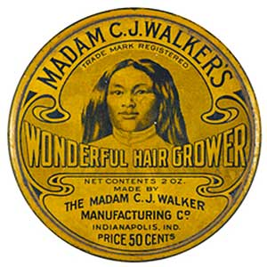 A tin of Madam Walker's Wonderful Hair Grower from 1925. Image via the Smithsonian.