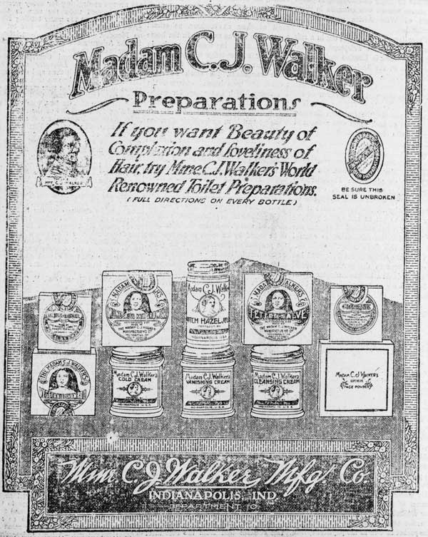 An advertisement for Walker's products from 1920. Via the Library of Congress.