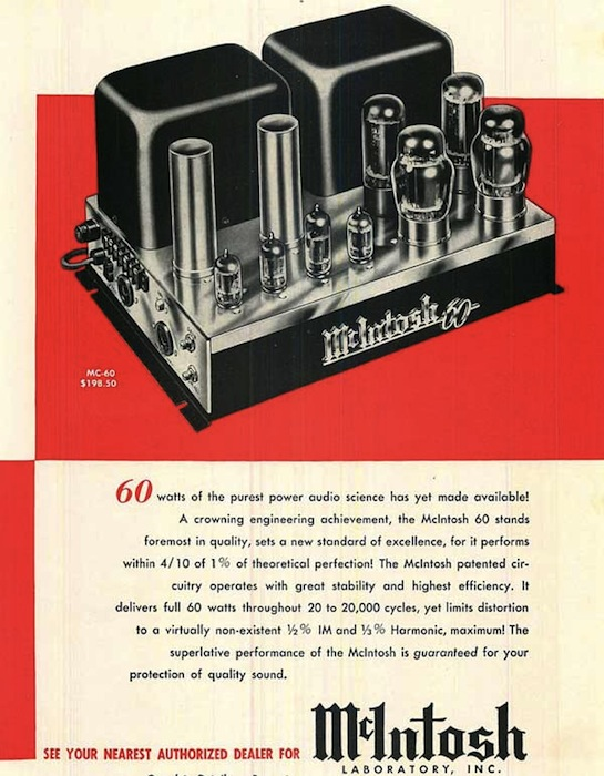 A print ad for McIntosh, probably the most revered of the early hi-fi audio manufacturers. Via Vintage Vacuum Audio
