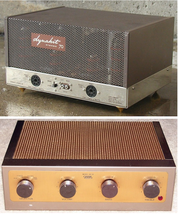 When Hansen's father built a Dynakit amplifier like this one (at top; via Seventies Stereo), he inherited his dad's Eico-12, like the one above (via Vintage Vacuum Audio).