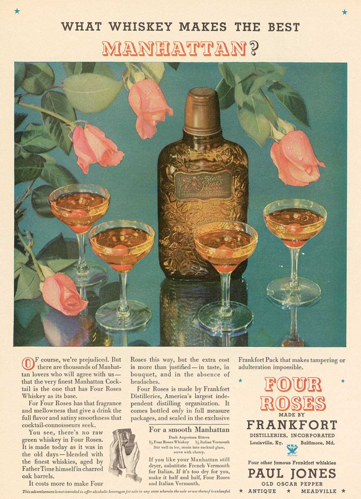 "This 1934 ad reminded consumers that Four Roses was blended and aged, unlike ""green whiskey,"" and sealed in a tamper-free bottle. Photo from ""The Art of American Whiskey,"" courtesy of Four Roses."