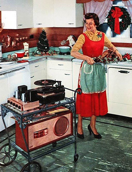 In the 1950s and '60s, hi-fi systems were marketed as technology that would improve the quality of your life, whether you were nesting (top, left; via Modern Mechanix), on the make (top, right; via Audio Karma), or bringing a Christmas turkey to the dinner table (above; via Retro Vintage Modern Hi-Fi).