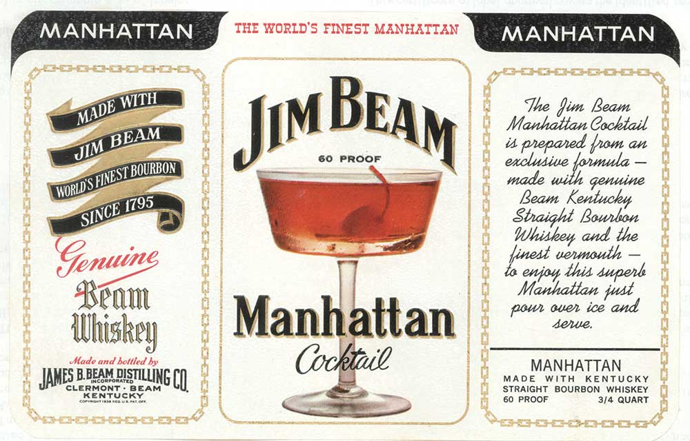 "Following World War II, American drinkers turned to blends and lower-proof spirits for their cocktails, as seen in this Jim Beam Manhattan ad from 1969. Photo from ""The Art of American Whiskey,"" courtesy of Beam Suntory Inc."