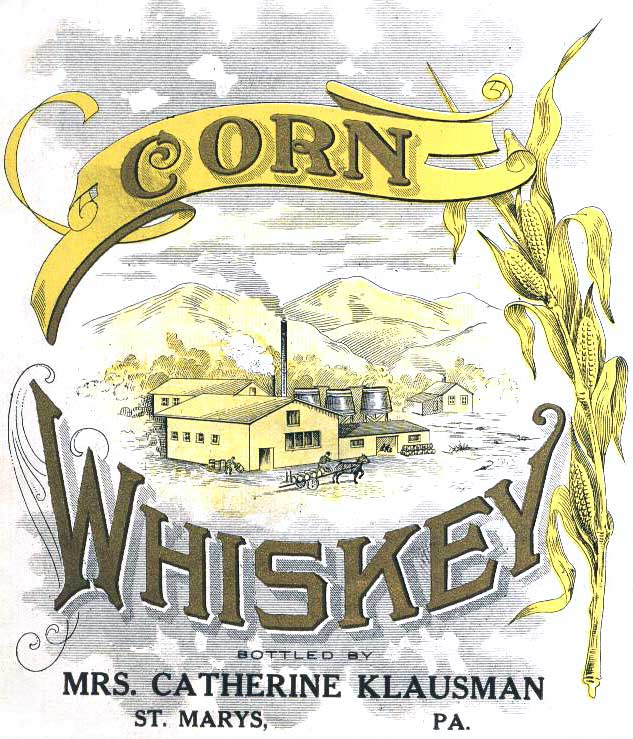 A Pennsylvania label for corn whiskey, now known as bourbon, circa 1910s. Image courtesy Saint Mary's Antiques.