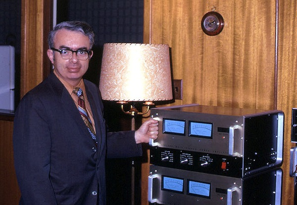 David O'Brien was an engineer at McIntosh who conducted in-store amplifier clinics from 1962 to 1991. He's seen here next to a pair of MC2300s. Courtesy Roger Russell's McIntosh History Page