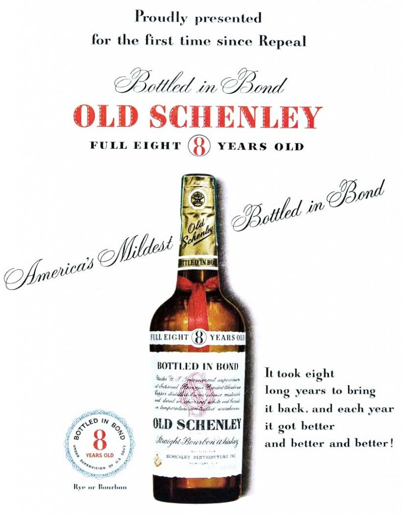 This 1950 ad for Old Schenley emphasizes the difficulty of aging quality whiskey following Prohibition.