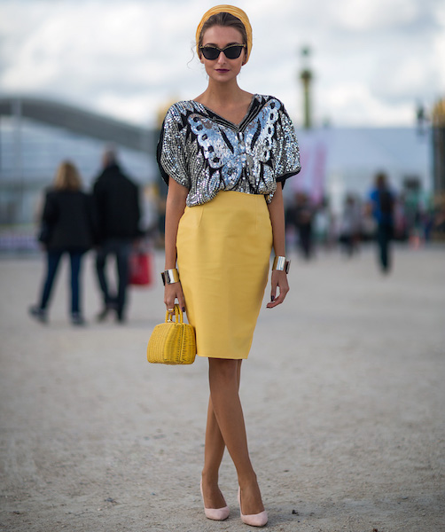 Romanian fashion blogger and designer, Gabriela Atanasov, sports a vintage butterfly sequin top at Paris Fashion Week. She was photographed for Carolines Mode, a top Swedish fashion blog known for its Stockholm Street Style feature.