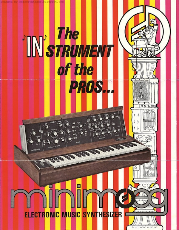 A 1972 brochure for the Minimoog. Courtesy Retro Synth Ads.