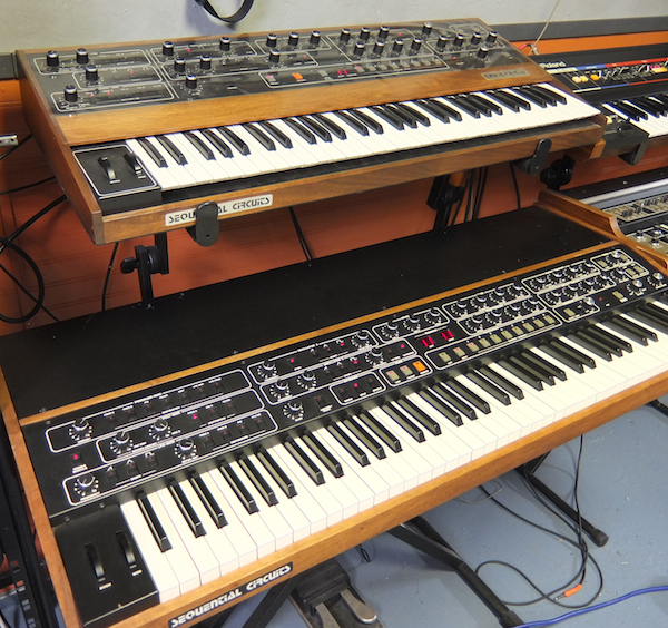 A Prophet-5 (top) and T8 at Lance Hill's Vintage Synthesizer Museum.