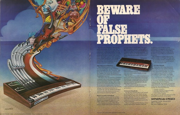 When the Prophet-5 was released in 1978, it was the only polyphonic synthesizer on the market, but by 1980, the marketing department at Sequential felt the need to run this ad. Courtesy Retro Synth Ads.