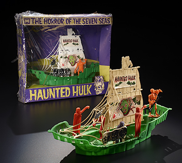 "The Horror of the Seven Seas is a rare Model Products Corporation toy. Hammett writes ""The blood-splattered sail and the disembodied Phantom-like head make this toy look like it would be a rather rousing good time in the tub!"" (From ""Too Much Horror Business"")"