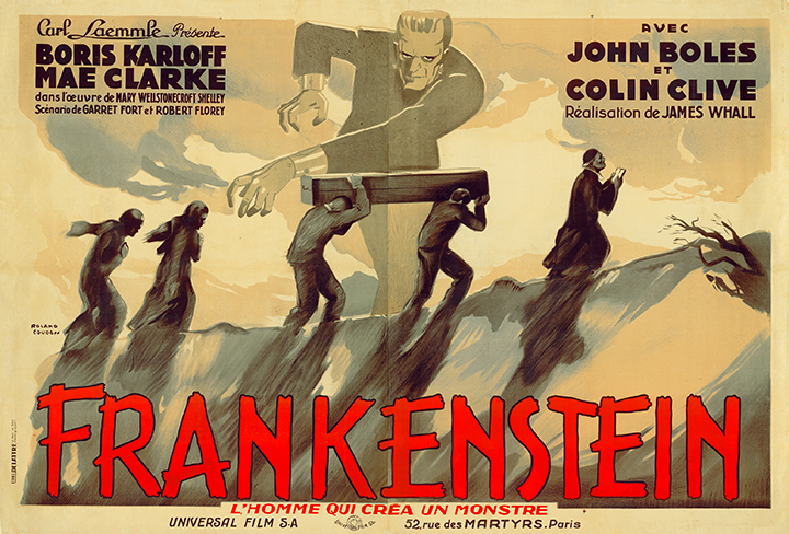 "The French double panel for 1931's ""Frankenstein."" Hammett writes he was compelled by the creature's ""condition of loneliness and sorrow."" (From ""Too Much Horror Business"")"